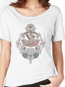 Woodland Birds - hand drawn vintage illustration pattern in neutral colors Women's Relaxed Fit T-Shirt