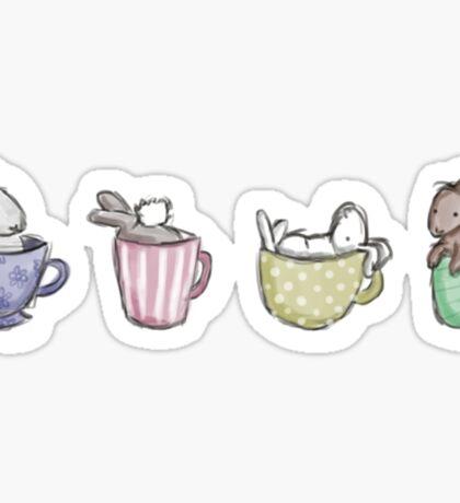 Teacup Bunnies; Tiny Animals in Teacups Sticker
