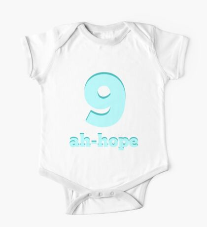 Baby learns Korean - number 9 blue One Piece - Short Sleeve