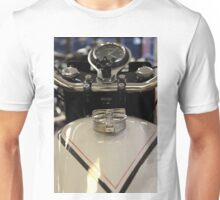 View of a classic vintage motorbike petrol tank and speedometer. Unisex T-Shirt