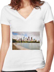 Sydney Harbour  Women's Fitted V-Neck T-Shirt
