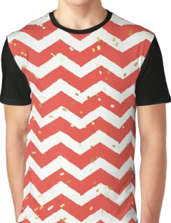 Christmas Red Chevron & Gold Sparkles Graphic T-Shirt