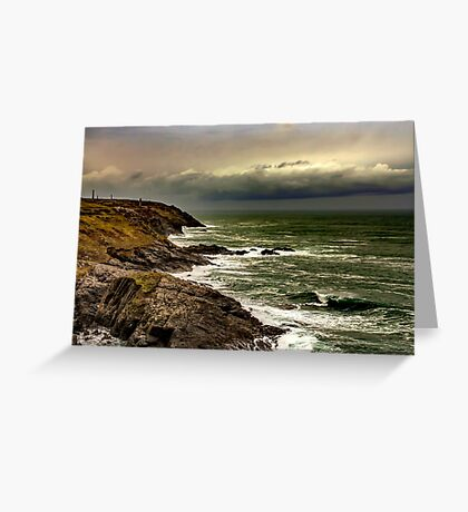 stormy sea view - cornwall Greeting Card