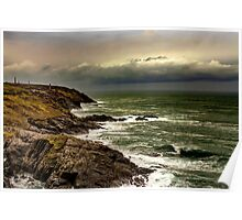 stormy sea view - cornwall Poster