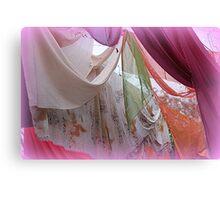 drapery of colored silks Canvas Print