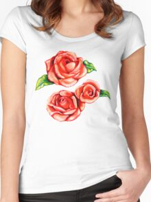 Floral Frosting Pattern Women's Fitted Scoop T-Shirt