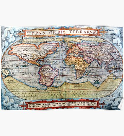 Ancient Map Of The World Poster