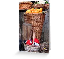oranges and balls of wool Greeting Card