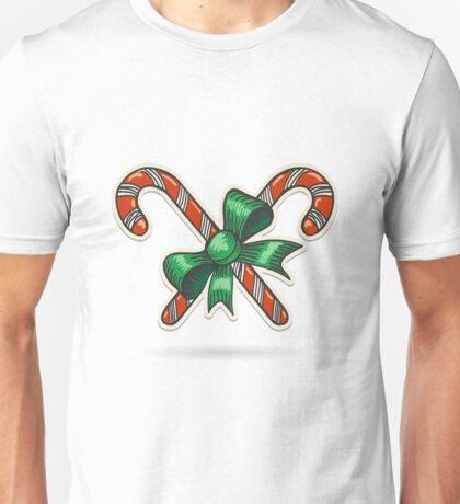 Paper Cut Candy Canes Emblem Unisex T-Shirt