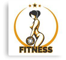Training Girl Fitness Emblem Canvas Print