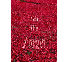 Poppies at The Tower of London - Lest we forget Photographic Print