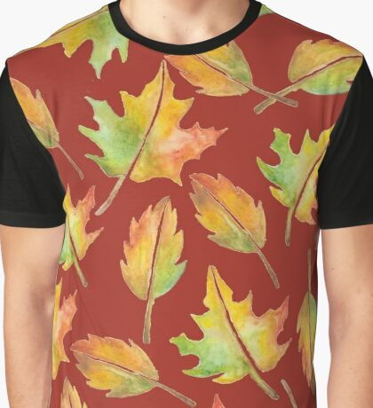 Fall Leaves Collage Graphic T-Shirt