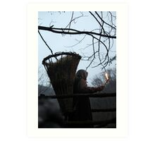 shepherd with a basket full of hay on his back Art Print