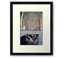 old fireplace with fire Framed Print