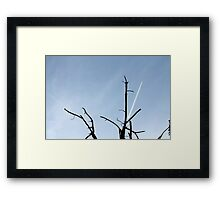 wake of aircraft in the sky Framed Print