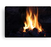 fire in the old stone fireplace Canvas Print