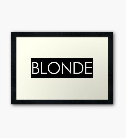 Blonde - White Typography on Black Framed Print