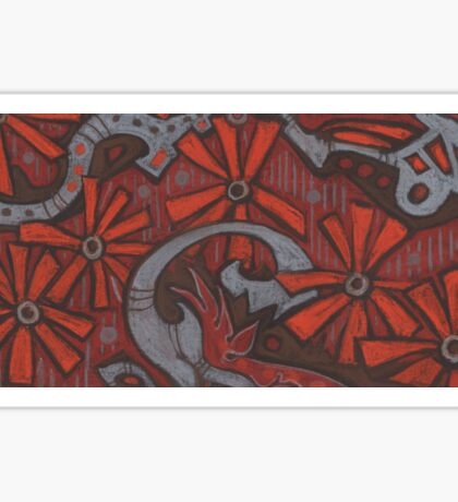 """""""October blossom"""", grey, orange & brown, abstract flowers Sticker"""