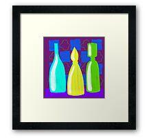 Moroccan Bottles on wine red walls Framed Print