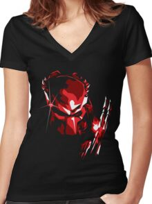 Predator Vector Art Women's Fitted V-Neck T-Shirt