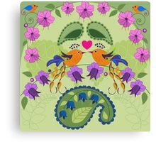 Love birds, flowers ad Paisley leaves Canvas Print