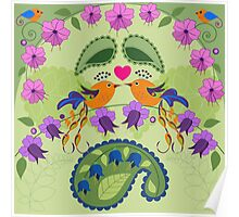Love birds, flowers ad Paisley leaves Poster