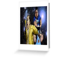 girl being chased funny psychadelic shirt Greeting Card