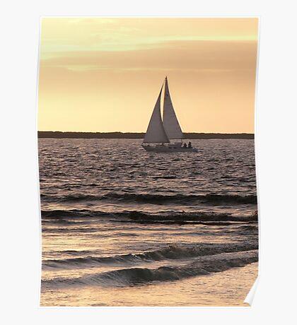 Boat at sea, Bunham-on-Sea (evening). Poster
