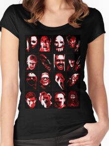 Horror Movie Icons Vector Art Women's Fitted Scoop T-Shirt