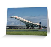 Concorde 102 G-BOAB landing at Farnborough Greeting Card