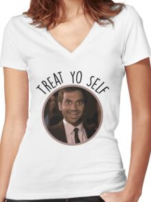 Treat Yo Self - Tom Haverford Women's Fitted V-Neck T-Shirt