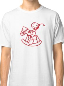 robot riding on rocking horse Classic T-Shirt