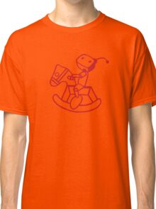 robot riding on rocking horse Classic T-Shirt