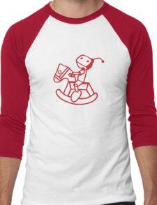robot riding on rocking horse Men's Baseball ¾ T-Shirt