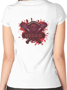 """Walking Dead Negan Blood Splatter  """"I'm gonna beat the Holy H*** Outa One Of You"""" Women's Fitted Scoop T-Shirt"""