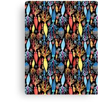 Pattern of different squid and fish Canvas Print