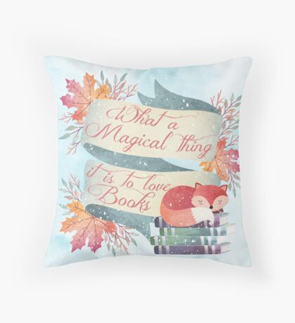 Winter Fox Books Throw Pillow