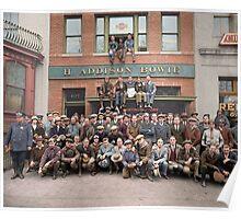 Harley Davidson gang and Bike Shop ca 1925 Poster