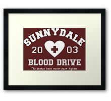 Sunnydale 2003 Blood Drive - white Framed Print