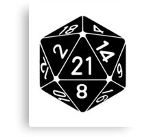 21 Sided 21st Birthday D20 Fantasy Gamer Die Canvas Print