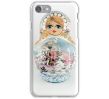 Wooden Russian Matryoshka Doll on white background iPhone Case/Skin