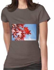 Autumn coloured leaves blue sky background Womens Fitted T-Shirt