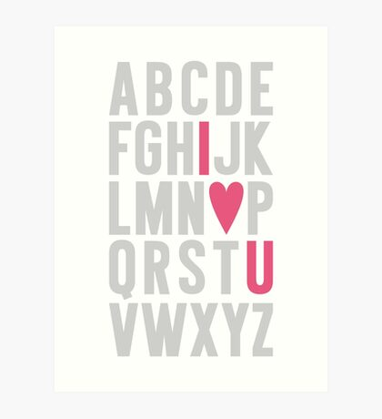 ABC I Love You Pink Art Print