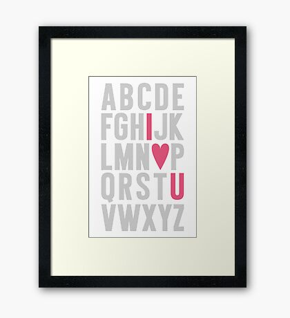 ABC I Love You Pink Framed Print