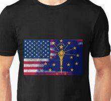 Indiana American Flag Fusion Unisex T-Shirt