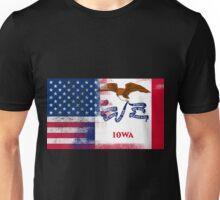 Iowa American Flag Fusion Unisex T-Shirt