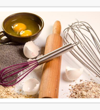 baking concept with ingredients, tools and baked goods  Sticker