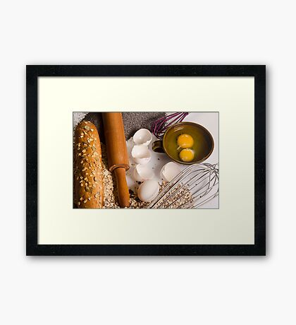 baking concept with ingredients, tools and baked goods  Framed Print