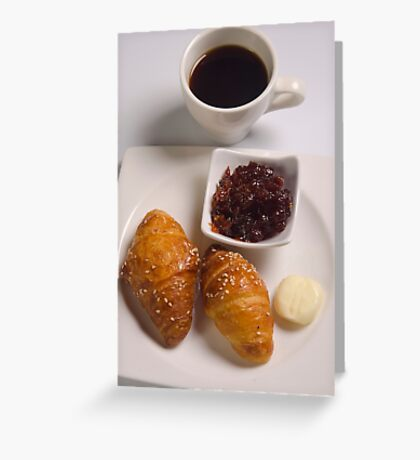 Breakfast with Croissant, jam and butter,  Greeting Card