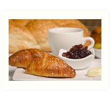 Breakfast with Croissant, jam and butter,  Art Print